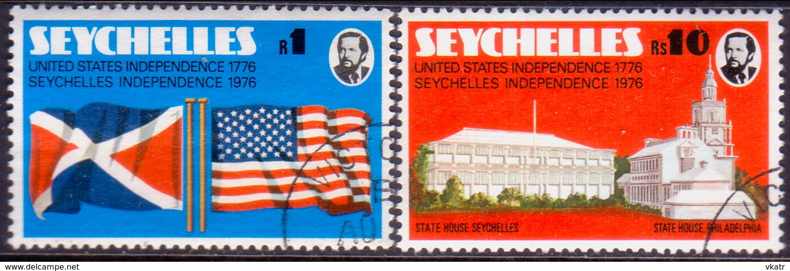 SEYCHELLES 1976 SG #363-64 Compl.set Used USA And Seychelles Independence - Seychelles (1976-...)