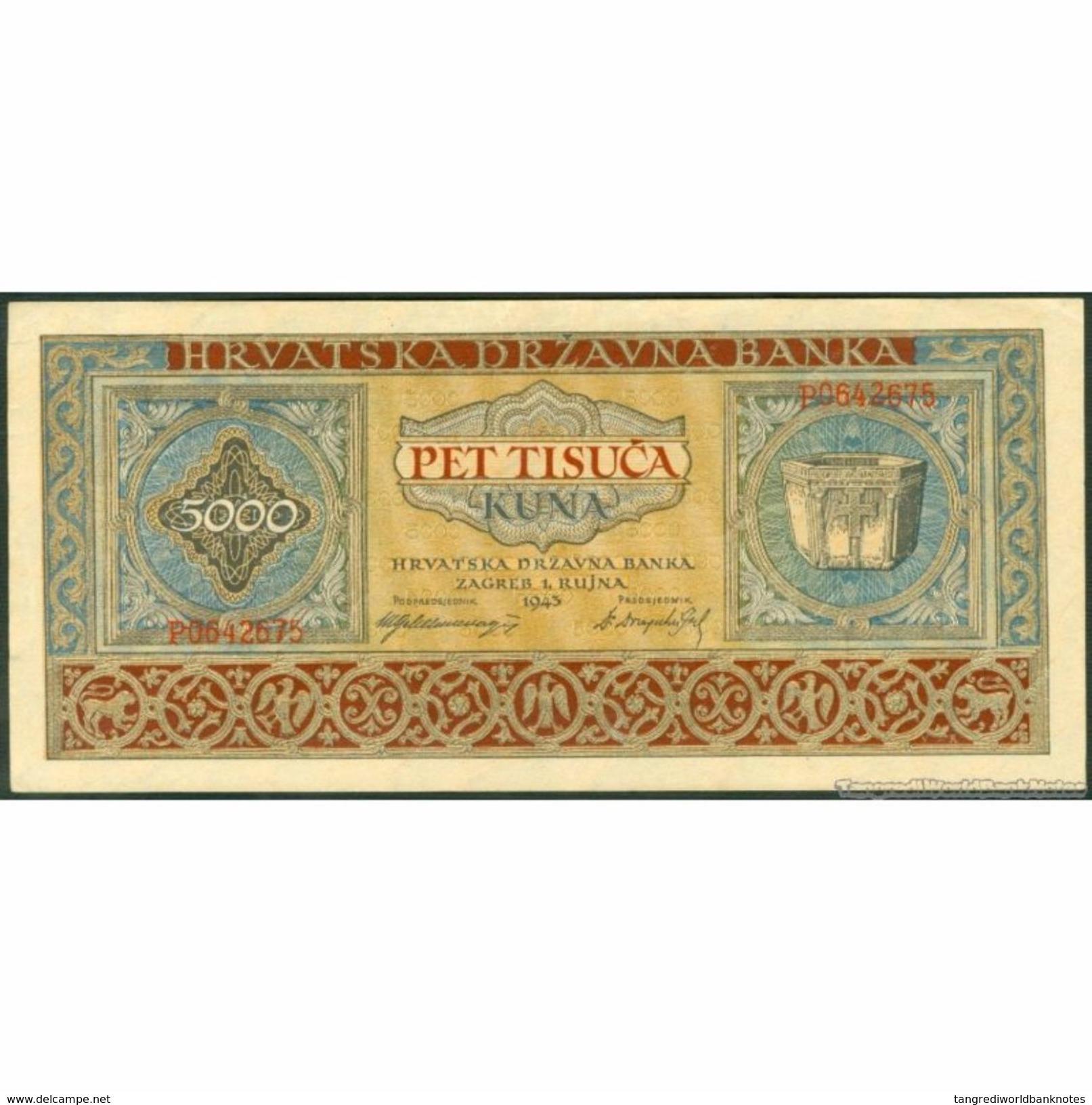 TWN - CROATIA 13a - 5000 5.000 Kuna 1.9.1943 P 0642675 AXF - Croatia