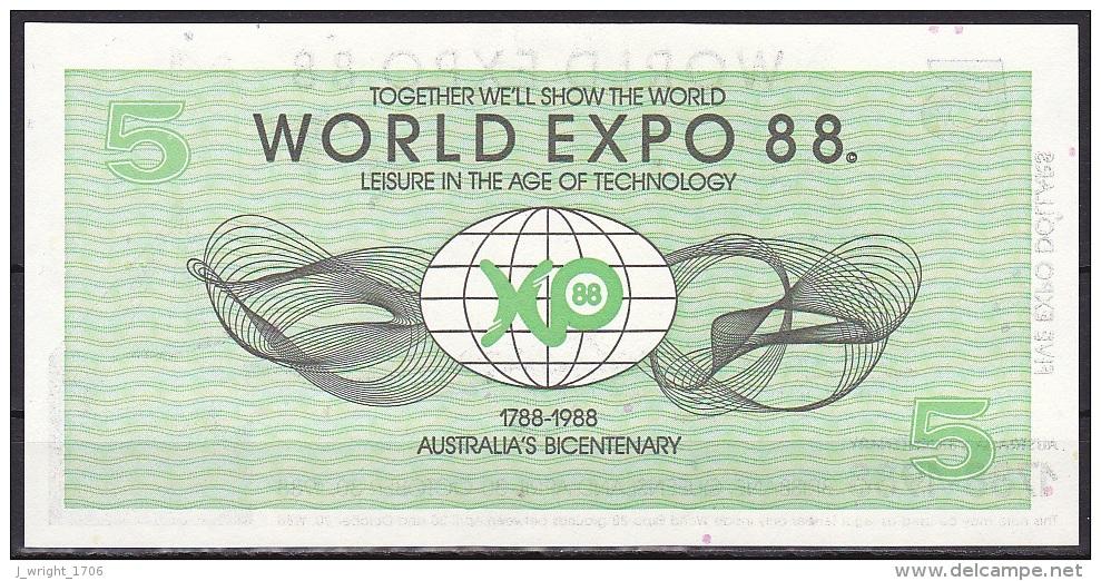 Australia/EXPO 88:- 5 Dollars:- UNC - Lokale Munt