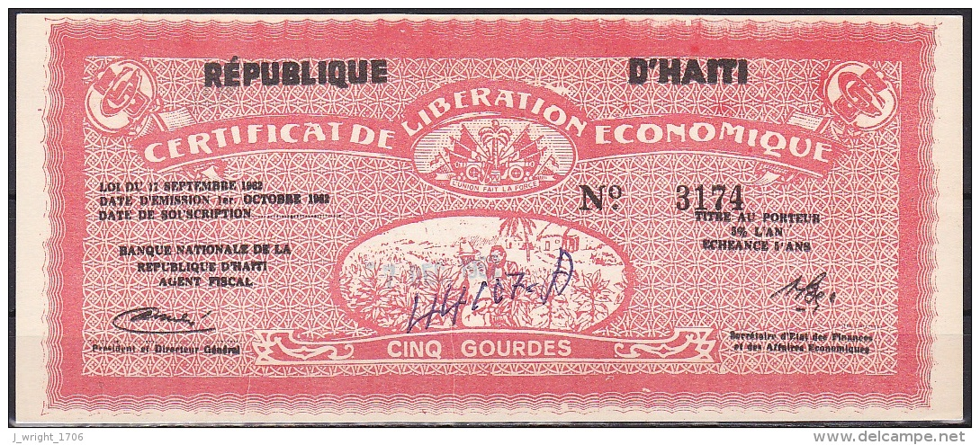 Haiti/Certificate Of Economic Liberation:- 5 Gourdes:- VF (Graffiti) - Haiti
