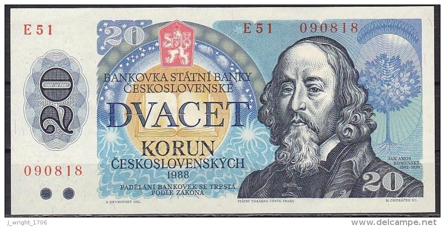 Czechoslovakia:- 20 Korun/P.95 (1988):- A-UNC - Czechoslovakia