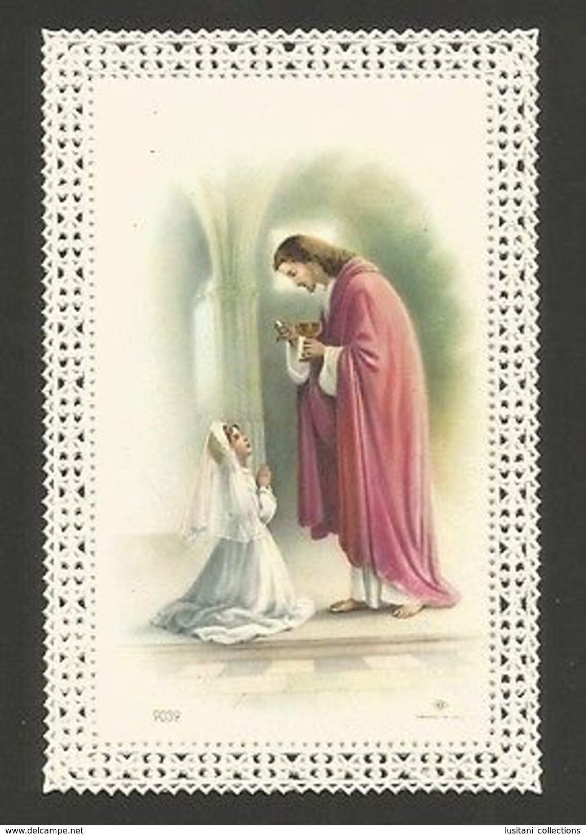 Antique HOLY CARD Vintage Religious Canivet Lace 1st Communion Girl & JESUS Z1 - Other Collections