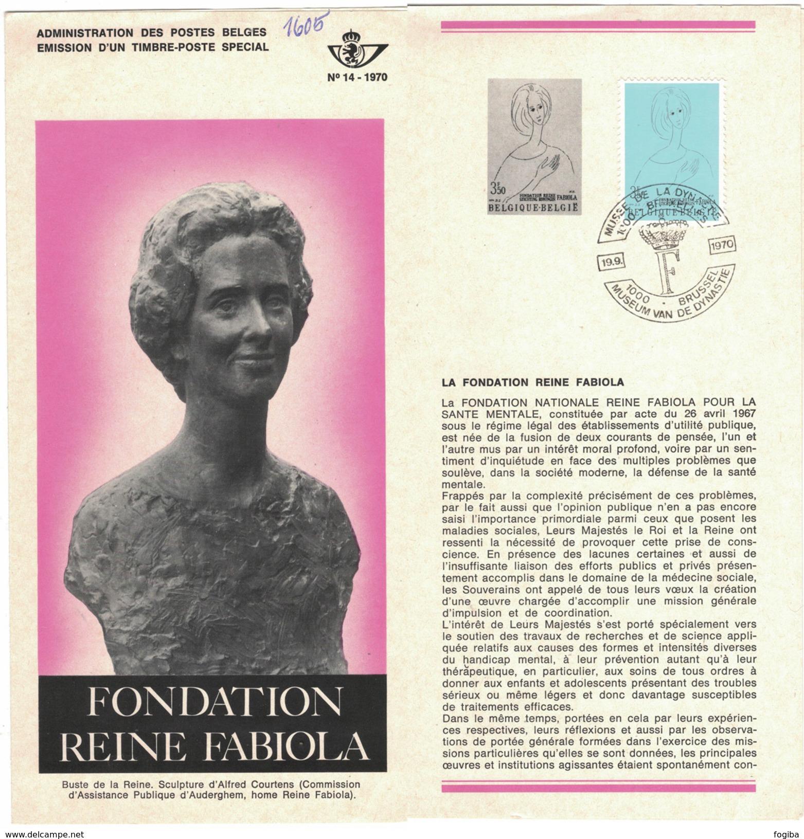 B24    Fondation Reine Fabiola  1970 - Oblitéré Sur Folder Officiel De La Poste - Documenti Della Posta
