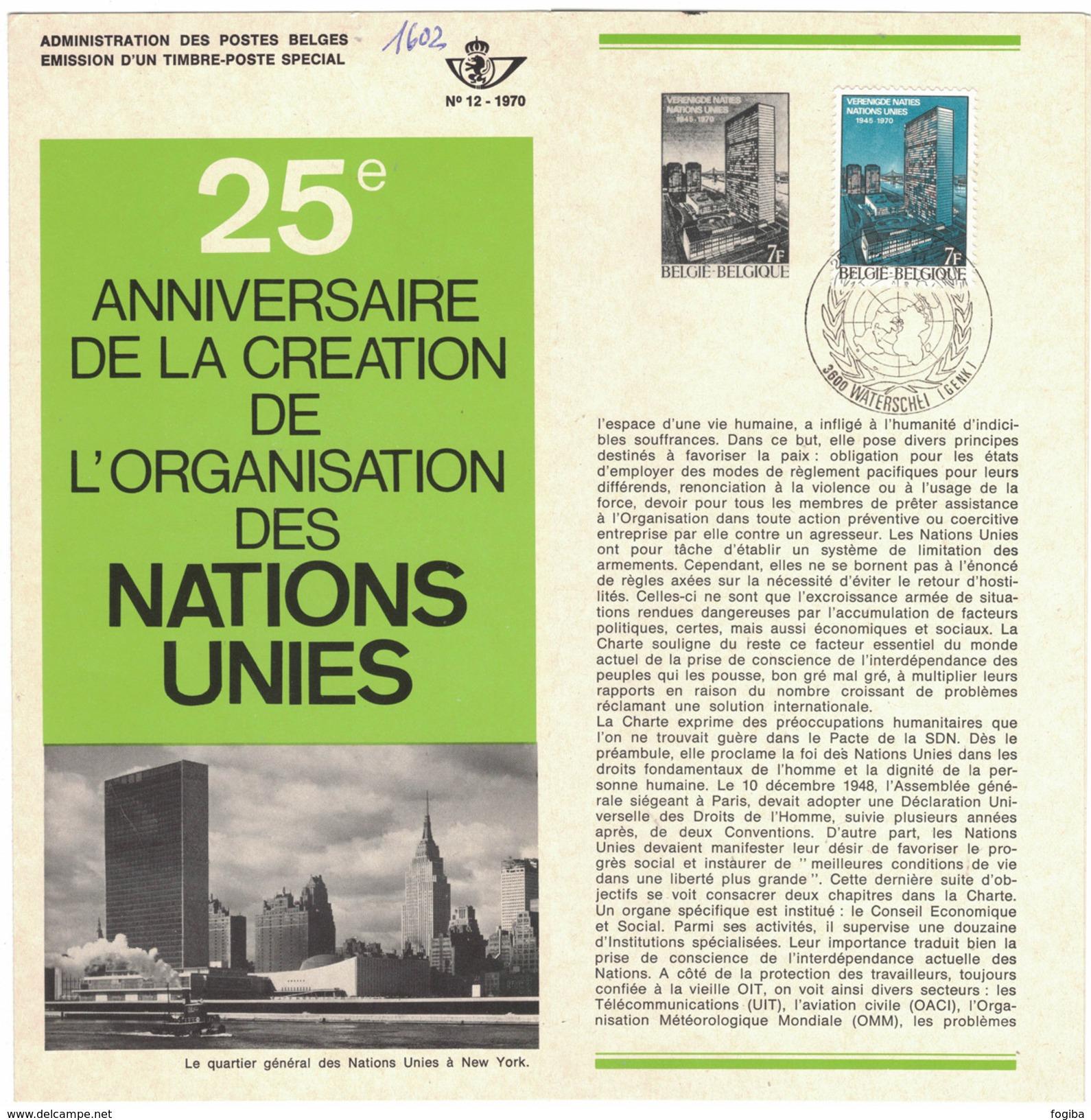 B26    Nations Unies, 25° Anniversaire 1970 - Oblitéré Sur Folder Officiel De La Poste - Documenti Della Posta