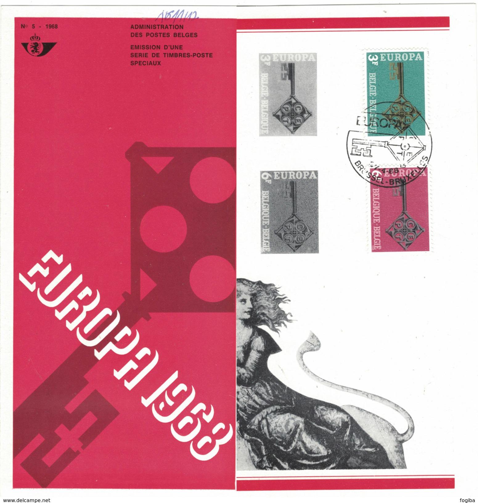 B38  EUROPA 1968 - Oblitéré Sur Folder Officiel De La Poste - Documenti Della Posta