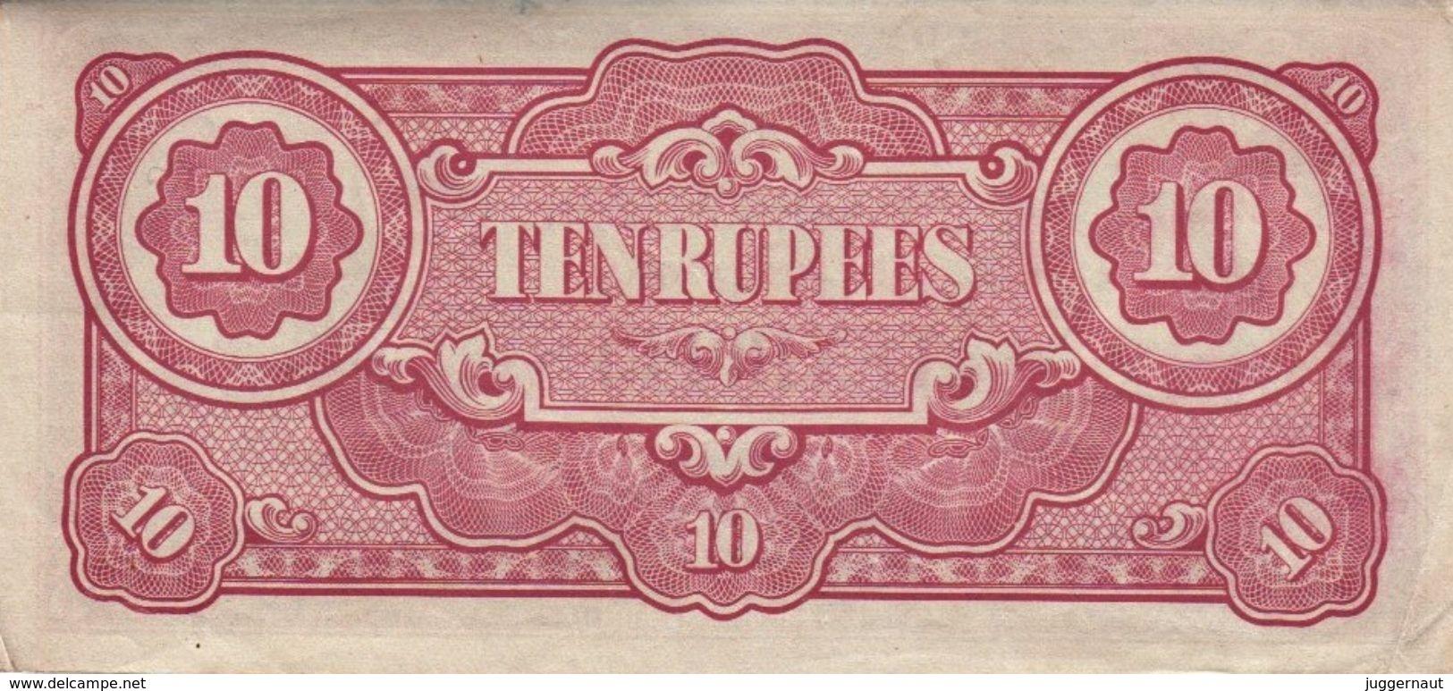 BURMA JAPAN OCCUPATION WWII 10-RUPEES BANKNOTE 1942-44 PICK#16 VERY FINE VF - Myanmar