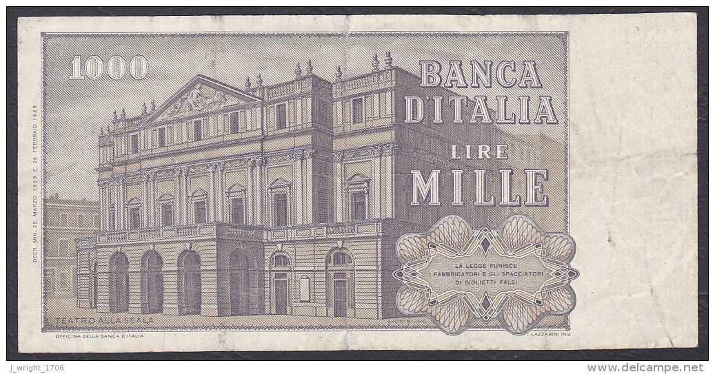 Italy:- 1000 Lire/P.101a (25.03.1969/Carli/Lombardo):- F - [ 2] 1946-… : Républic