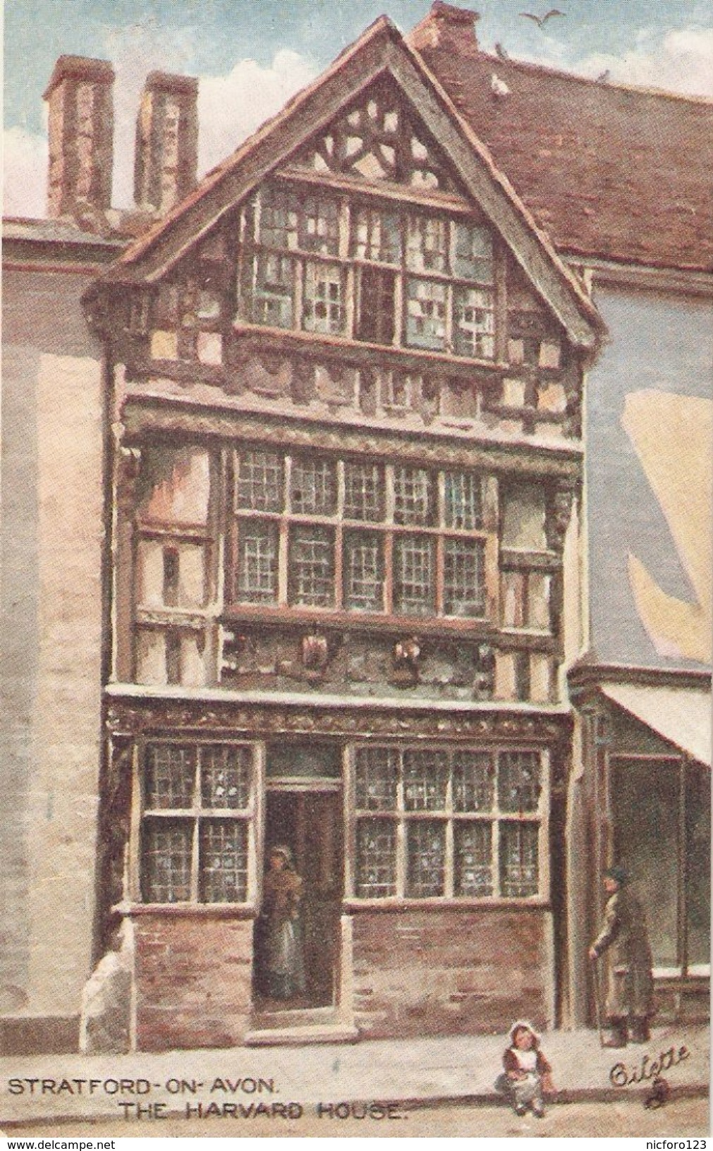 """Stratford-on-Avon. The Harvard House"" Tuck Oilette Shakesperare Countru Series PC # 7526 - Tuck, Raphael"