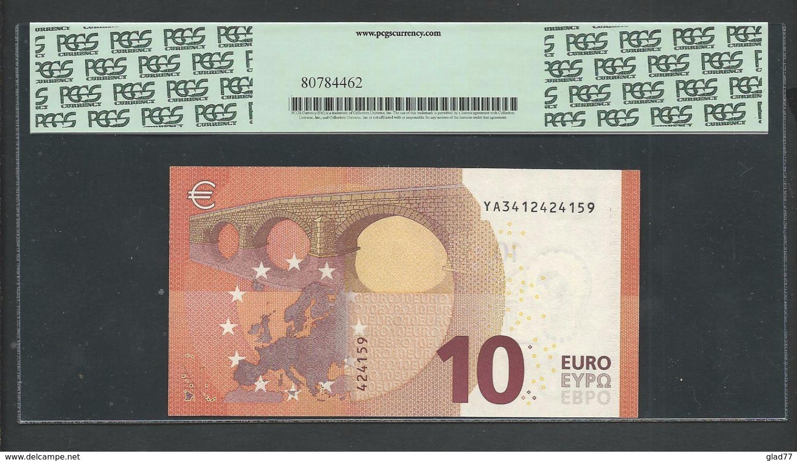"Greece  ""Y"" 10  EURO GEM UNC! Draghi Signature!!  ""Y"" PCGS 65PPQ (Perfect Paper Quality)   Printer  Y006A2! - EURO"