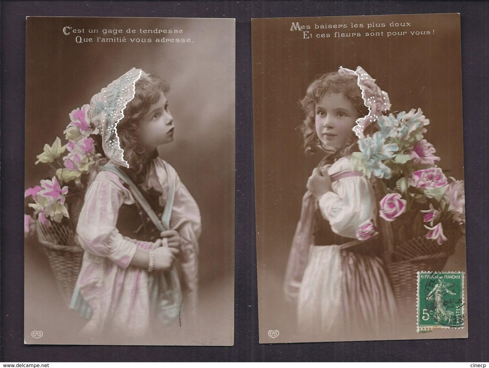 Lot De 3 CPA Enfant Fillette Coiffée Et Habillée Avec élégance Visage De Poupée - Pretty Girl - Photo - Portraits