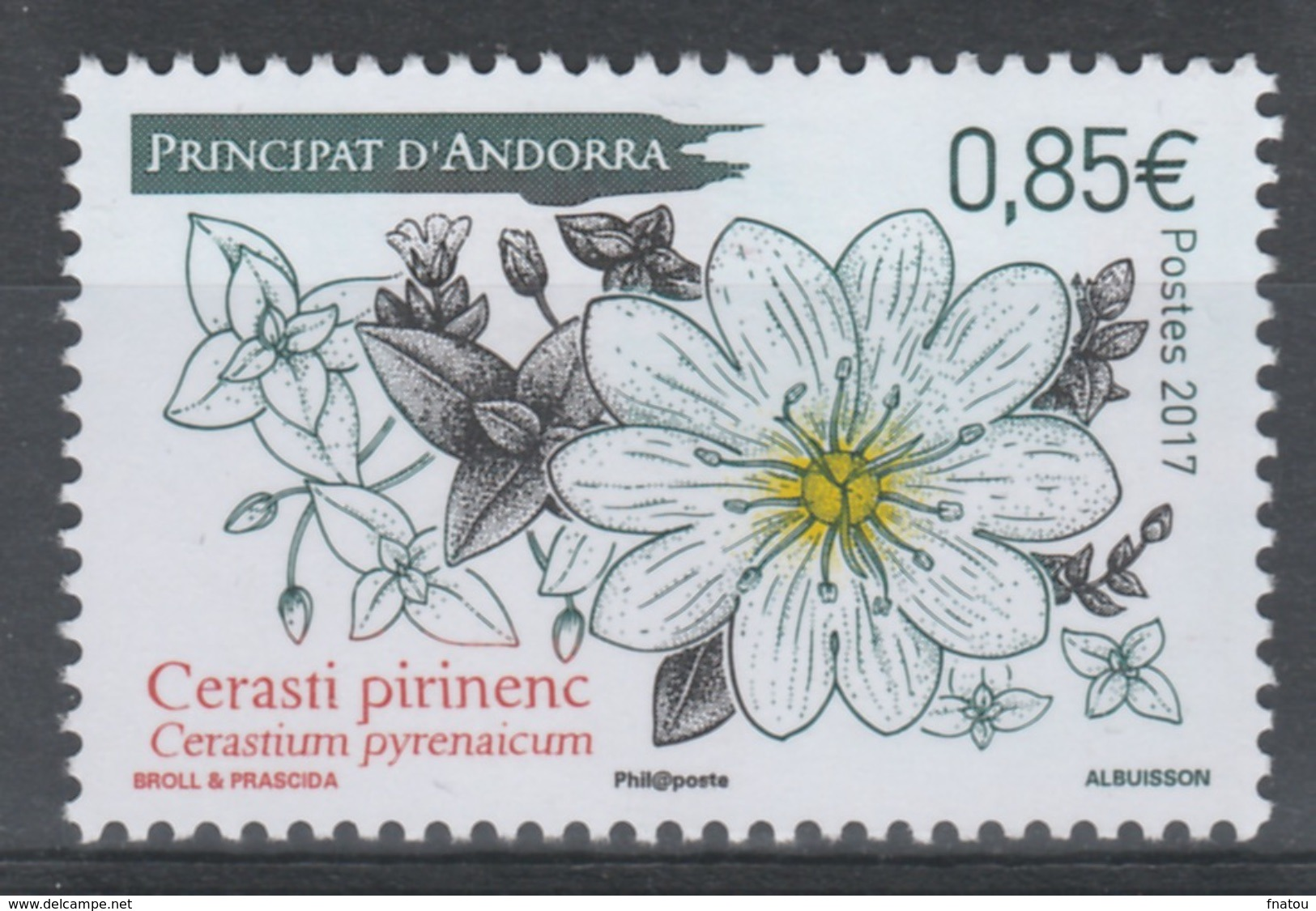 Andorra (French Adm.), Plant, Mouse-ear Chickweed, Cerastium, 2017, MNH VF - Unused Stamps