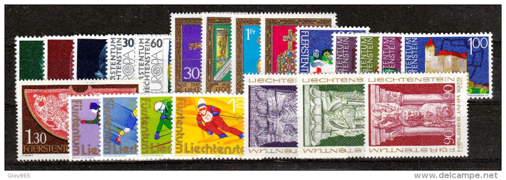 LIECHTENSTEIN  Xx  1975   ANNATA  COMPLETA   -  Postfrisch    -     Vedi  Foto ! - Liechtenstein