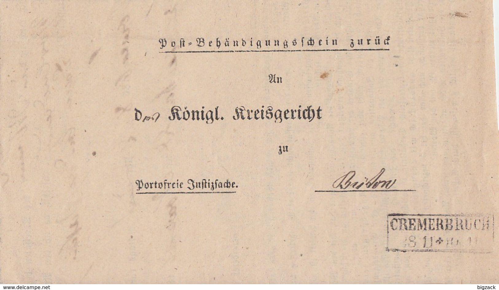 Preussen Post-Behändigungsschein R2 Cremerbruch 28.11.  Seltener Stempel !!!!!!!!!!! - Preussen