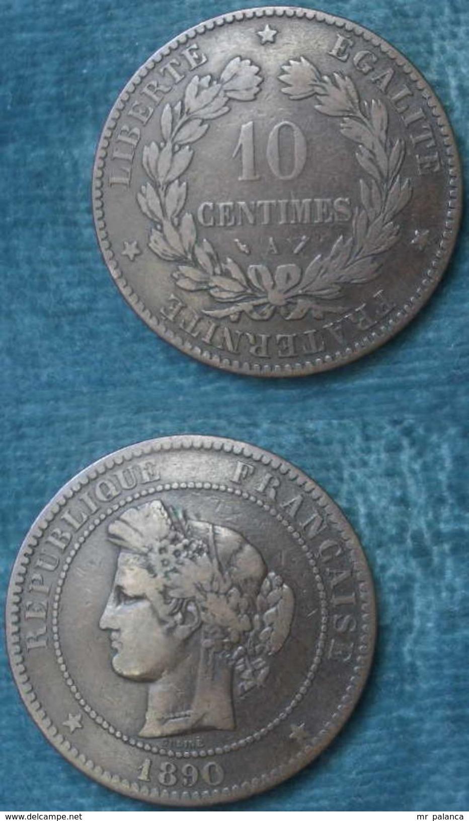 M_p> Francia 10 Centesimi 1890 A - OTTIMI RILIEVI - France