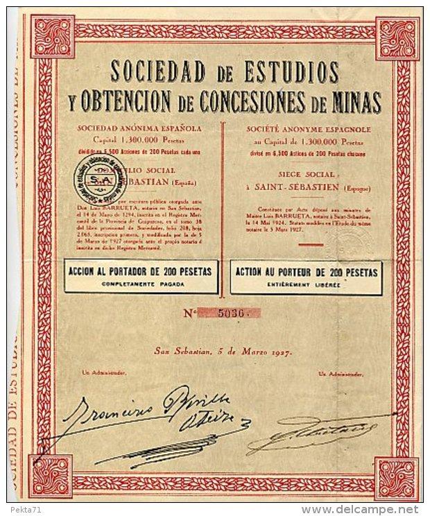 SOCIEDAD DE ESTUDIOS Y OBTENCION DE CONCESIONES DE MINAS 1927 - Mines