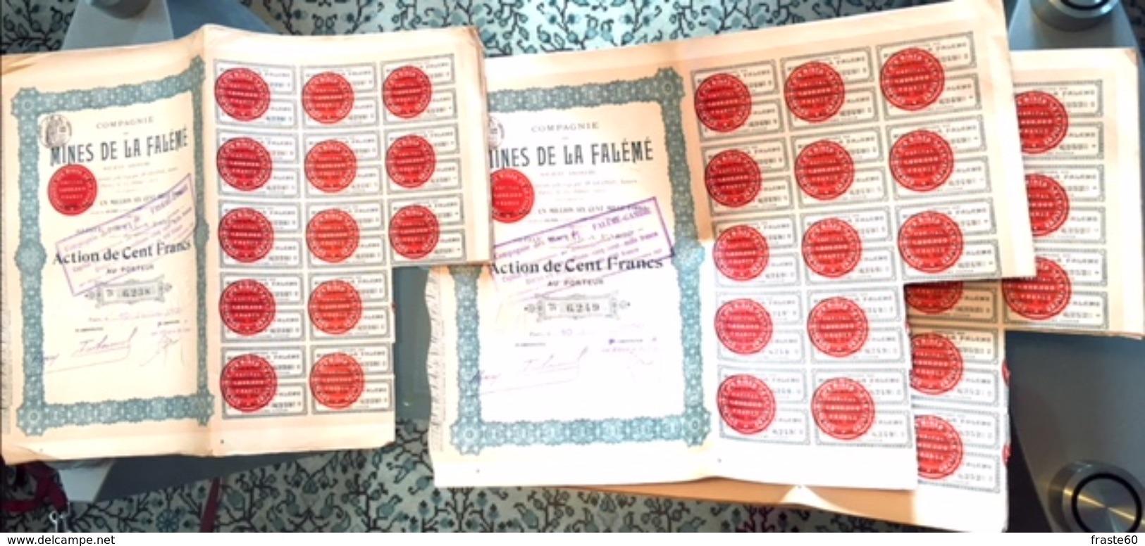 """Lot De 39 Actions Anciennes (Cents Francs) Société Anonyme """"Compagnie Des Mines De La Falémé"""" - Afrique"""