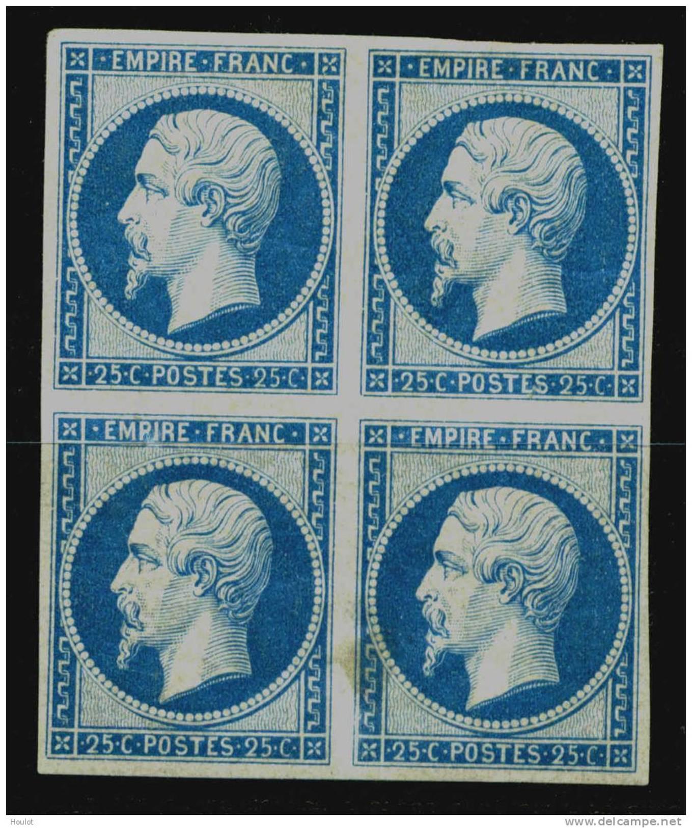 Mi.N° 14 / Dallay N° 15 * Bloc De Quatre Dans La Qualité Super Avec Très Beau Large à Des Bords, - 1853-1860 Napoléon III.