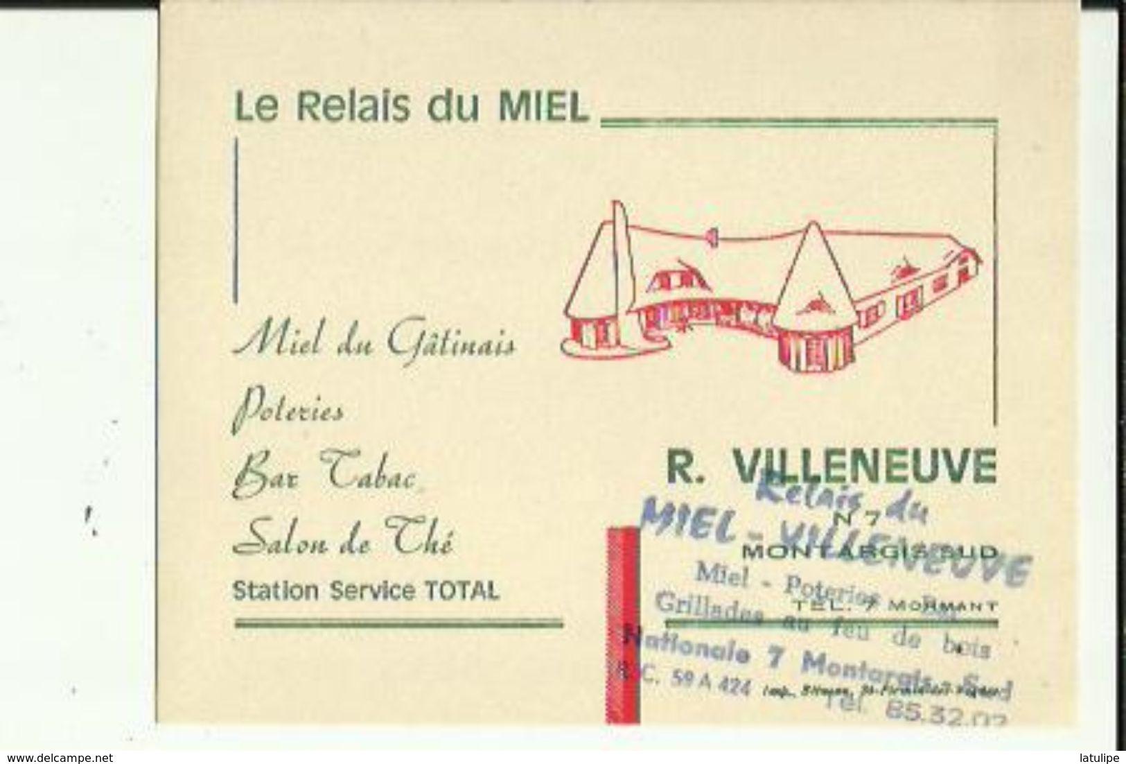 Carte De Visite Du RELAIS Du MIEL_R  VILLENEUVE Bar-Tabac-Station TOTAL A  MONTARGIS - Cartoncini Da Visita