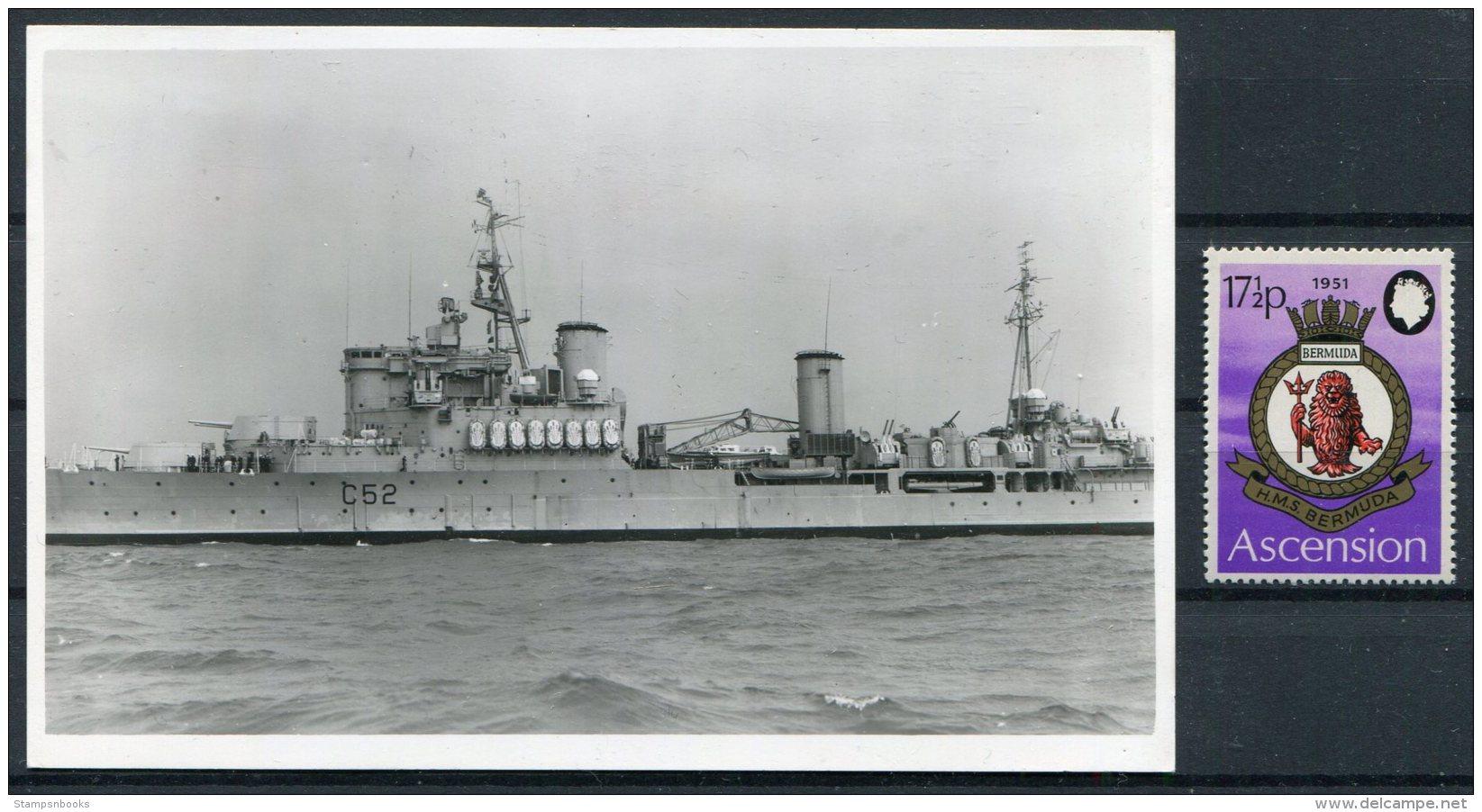 H.M.S. BERMUDA R.P. Postcard (plain Back) Royal Navy Ship + Ascension Stamp - Warships