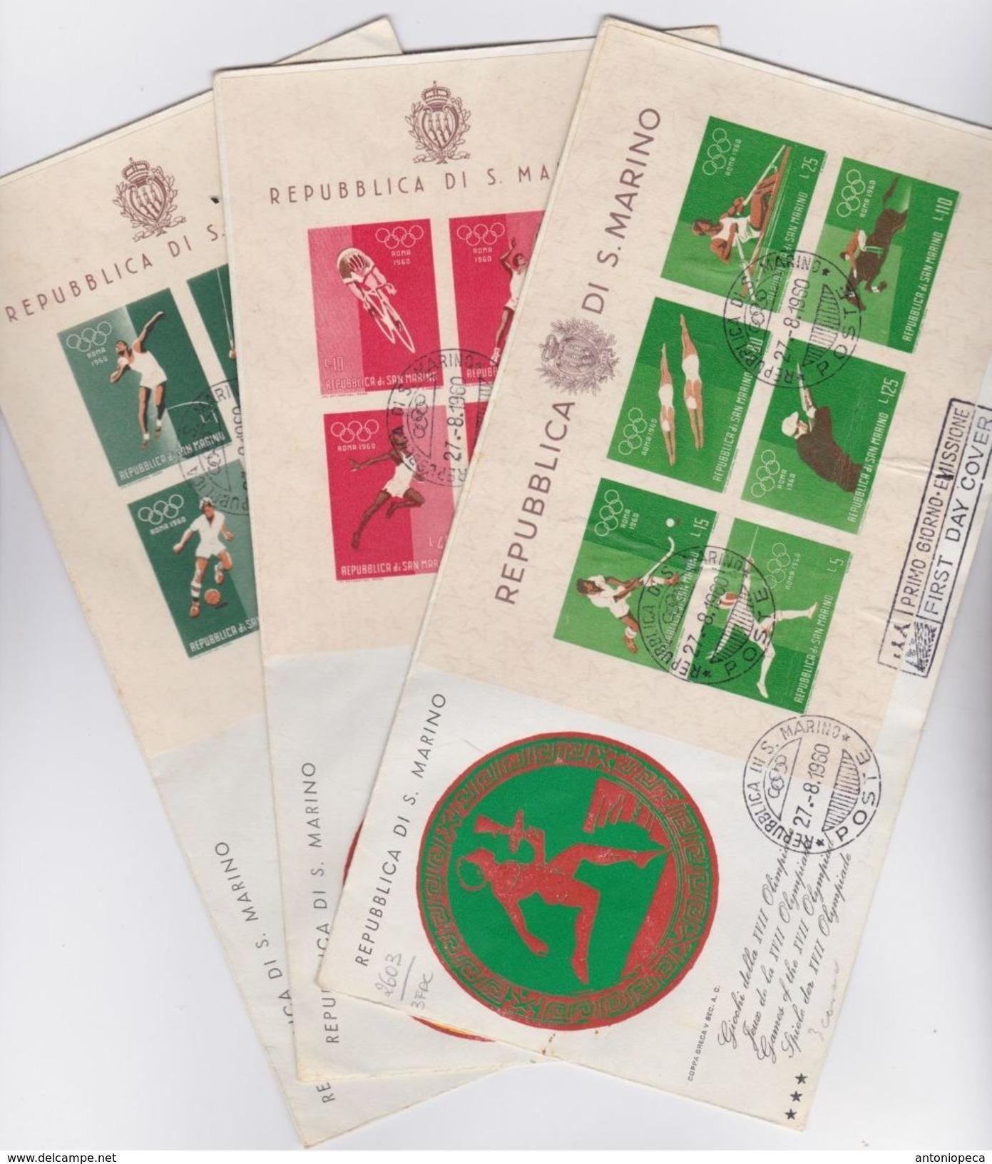 SAN MARINO 1960 Foglietti Olimpiadi - 3 FDC - San Marino