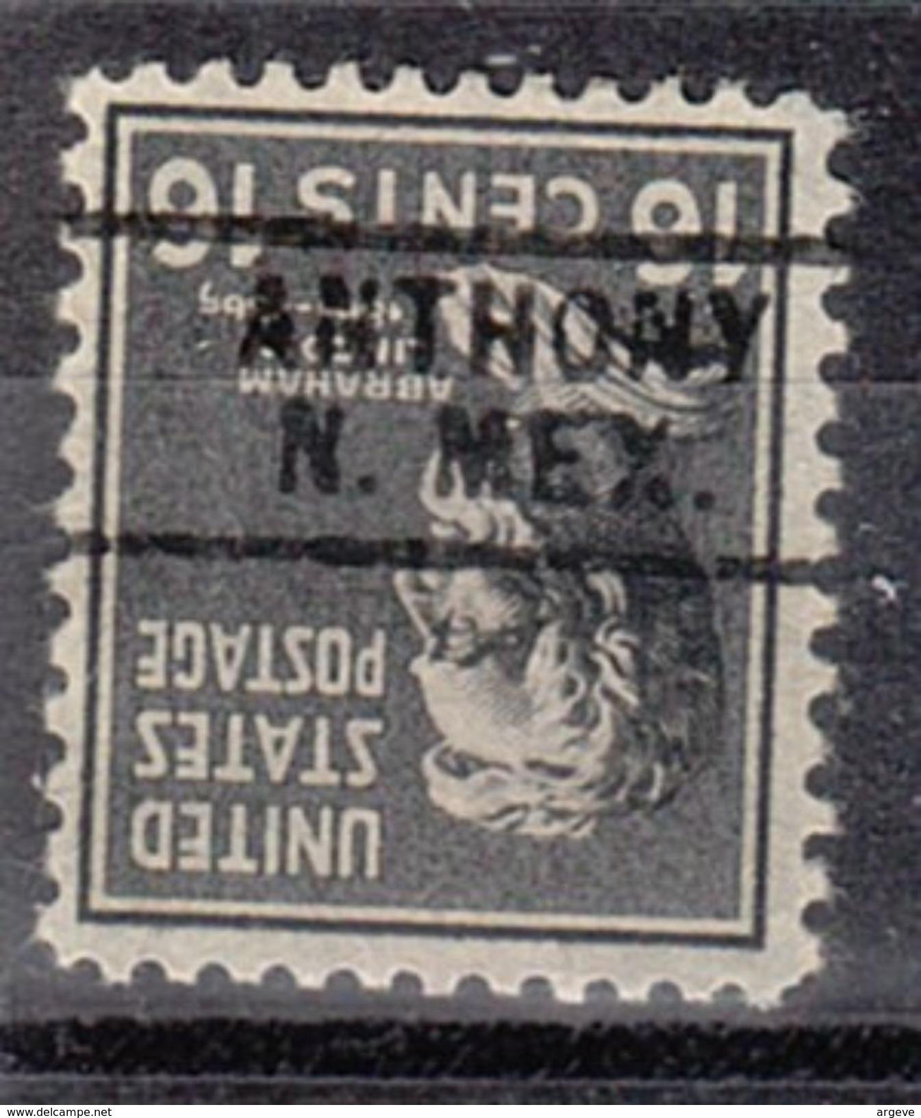 USA Precancel Vorausentwertungen Preo, Locals New Mexico, Anthony 729 - Vereinigte Staaten