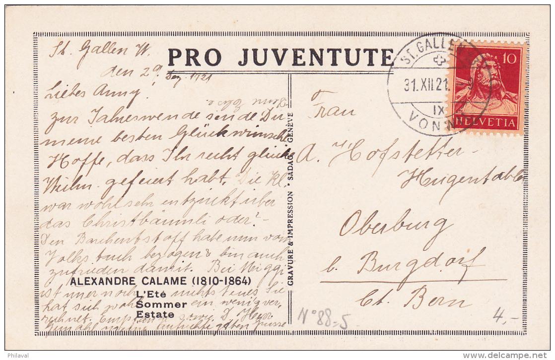 Carte Pro Juventute No 88 - L'été, Alexandre Calame - Pro Juventute