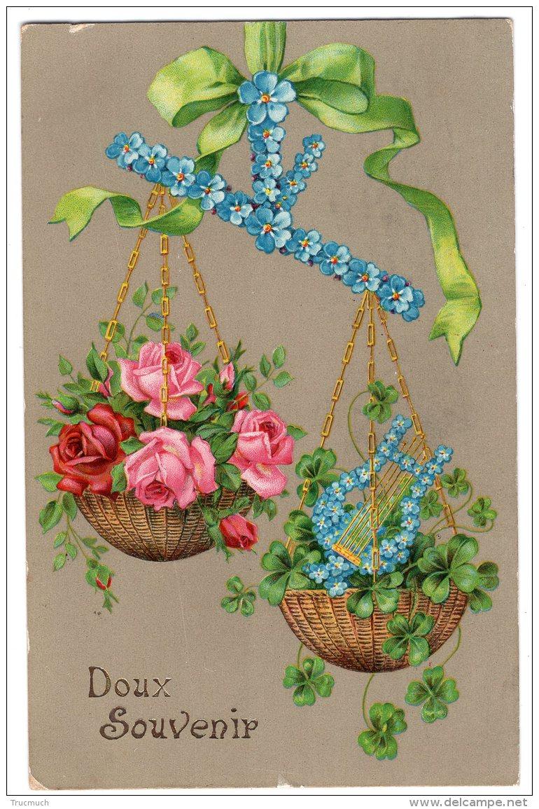 5 - AMITIE  -  Doux Souvenir - Corbeille De Fleurs - Ruban - Cartes Postales