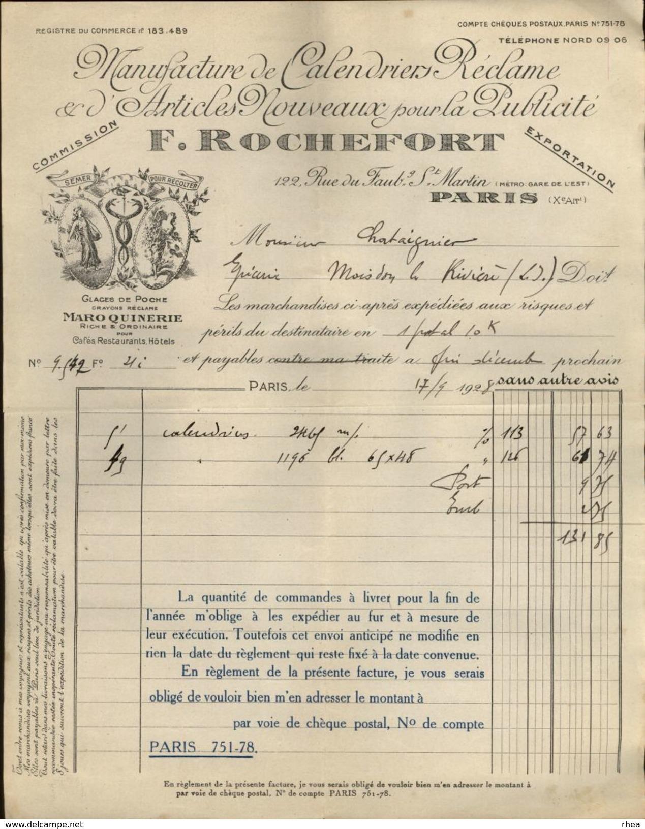 75 - PARIS X ème - FACTURE - Manufacture De Calendriers Réclame - F. Rochefort - Maroquinerie - Rue Faubourg St Martin - France