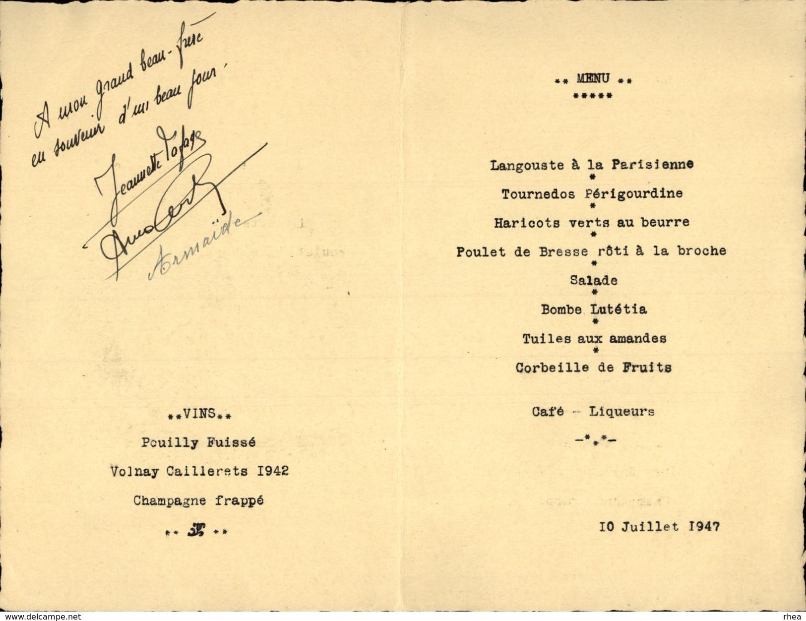 75 - PARIS - MENU - Hotel Lutetia - 1947 - Menus