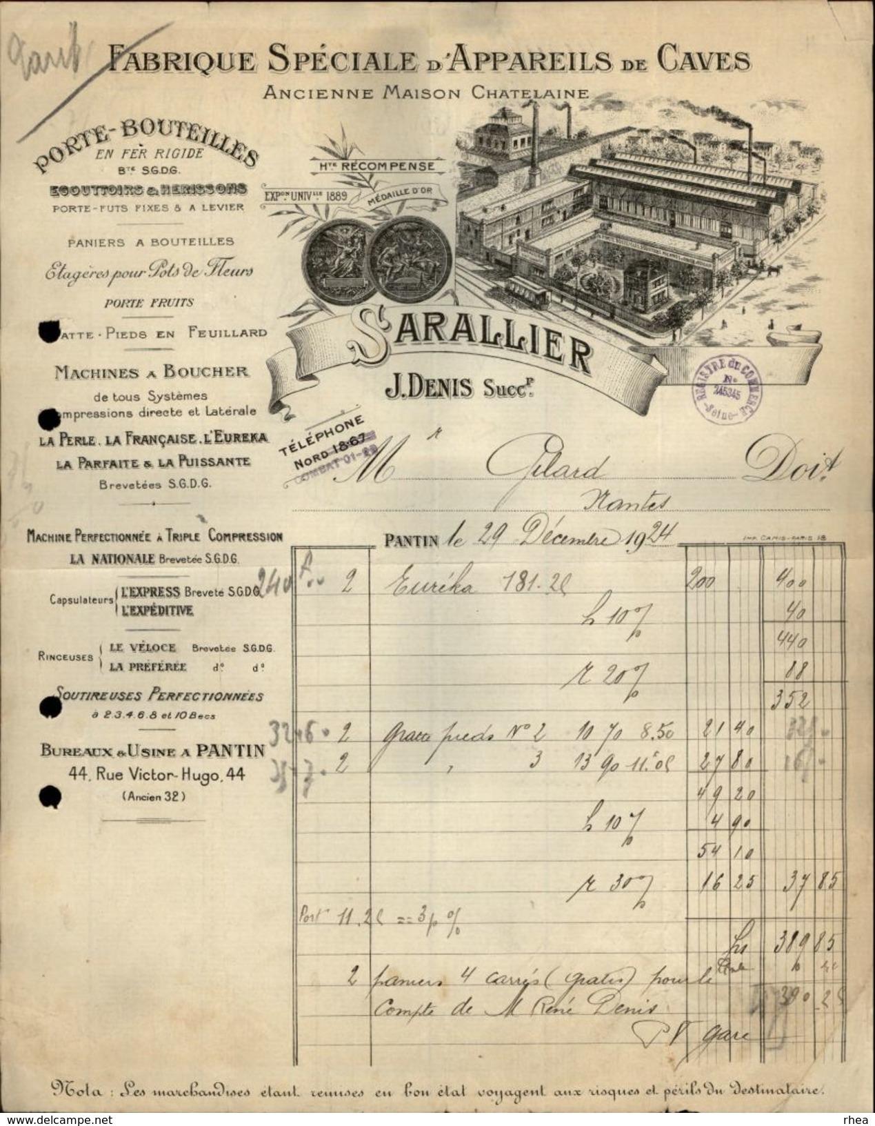 93 - PANTIN - FACTURE 1924 - Fabrique D'appareils De Caves - Porte Bouteilles - Sarallier - France