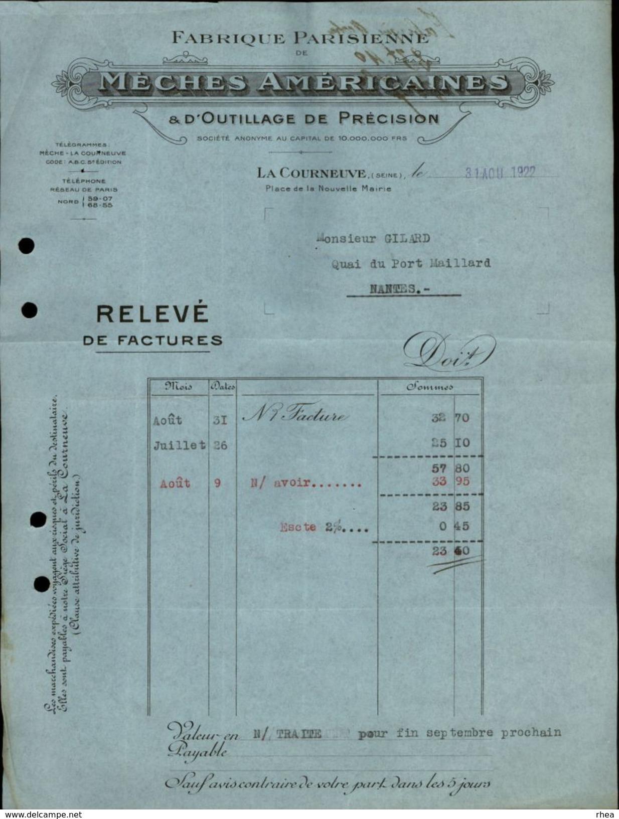 93 - LA COURNEUVE - FACTURE 1922 - Fabrique Parisienne De Mèches Américaines - Outillage - France