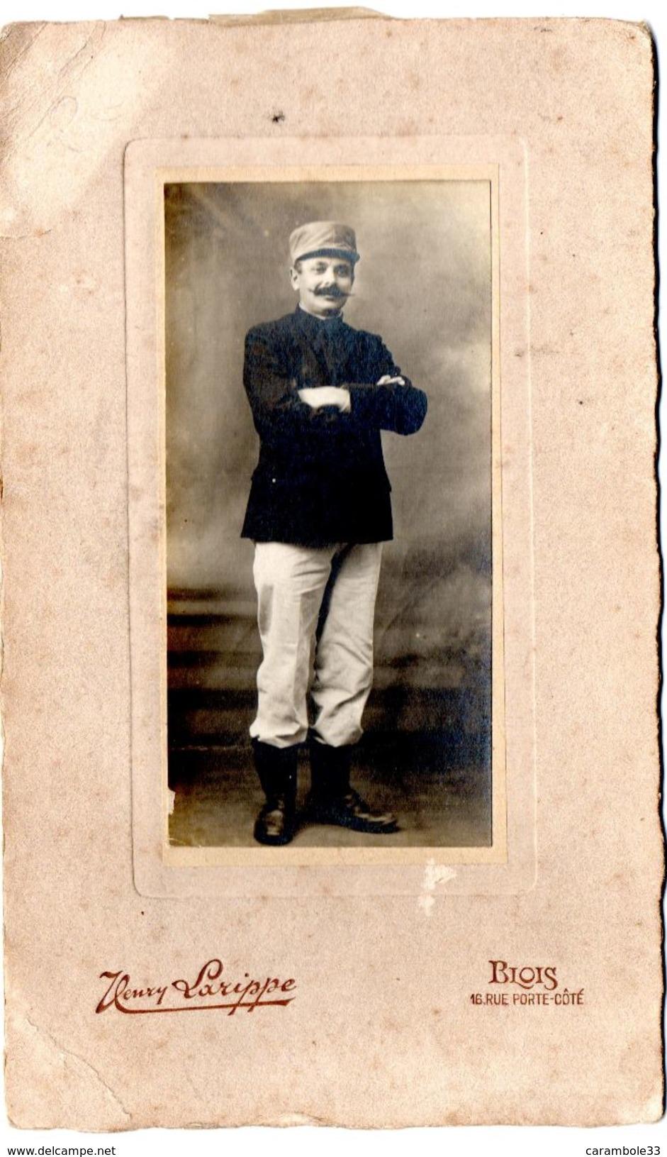 Photo Militaire  Photographe Henri Larippe Blois Format 11 X  19.5 Cm - Guerre, Militaire