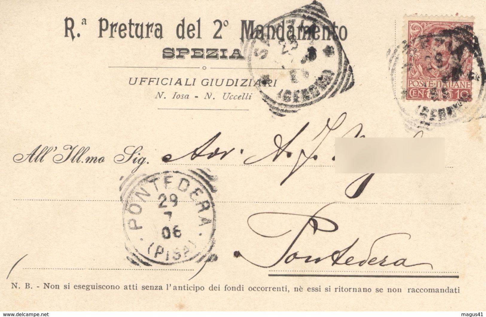 LA SPEZIA - REGIA PRETURA 2° MANDAMENTO - CARTOLINA UFFICIALI GIUDIZIARI - VG 1906 - La Spezia