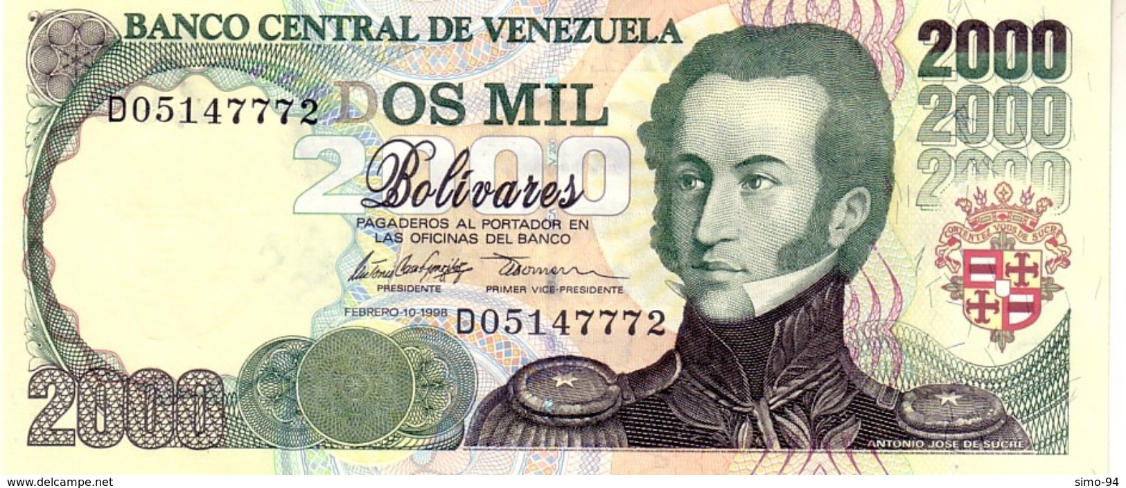 Venezuela P.77b 2000 Bolivares 1998 Unc - Venezuela
