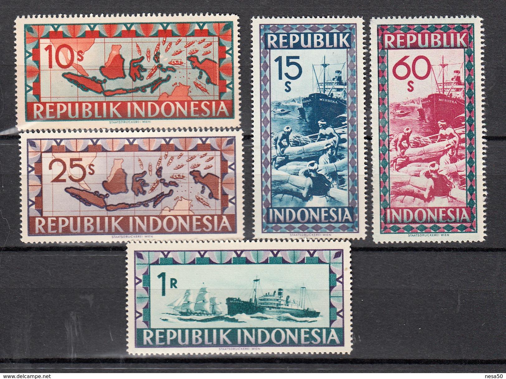 Indonesie, Republik Indonesia   Lokale Uitgaven 1949 Mi Nr 91 - 95 ; Landkaart, Schip, Ship, Zeilschip Postfris - Indonesia