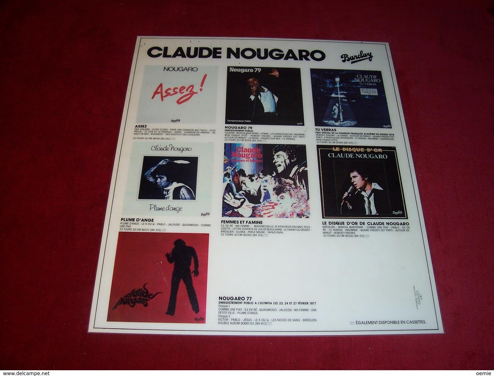 CLAUDE NOUGARO  °°  INTERCALAIRE PUBLICITAIRE  VINYLES EN PLEXI - Plaques Publicitaires