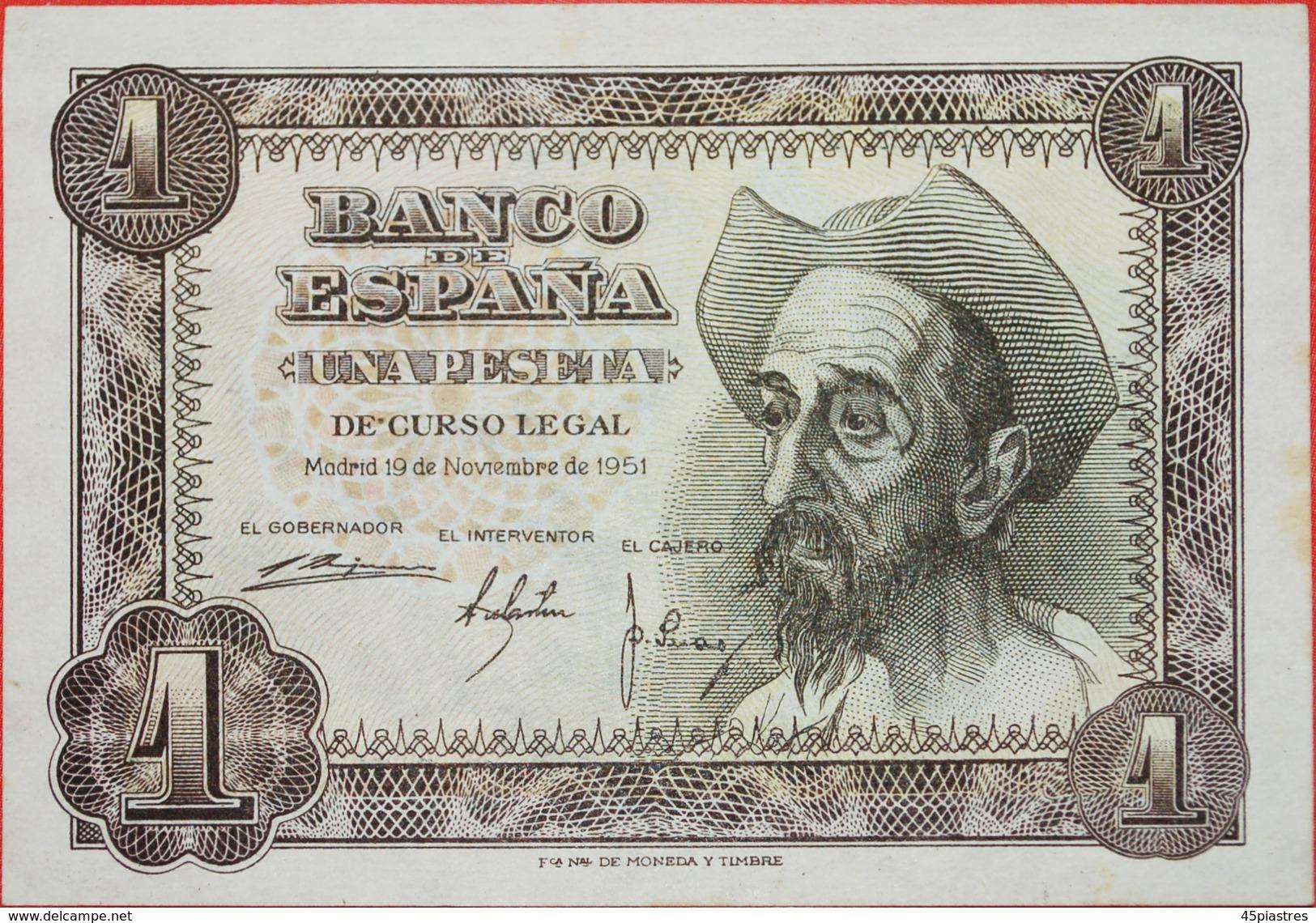 √ DON QUIJOTE: SPAIN ★ 1 PESETA 1951 CRISP! LOW START ★  NO RESERVE! Franco Regime (1936-1975) - [ 3] 1936-1975 : Régence De Franco