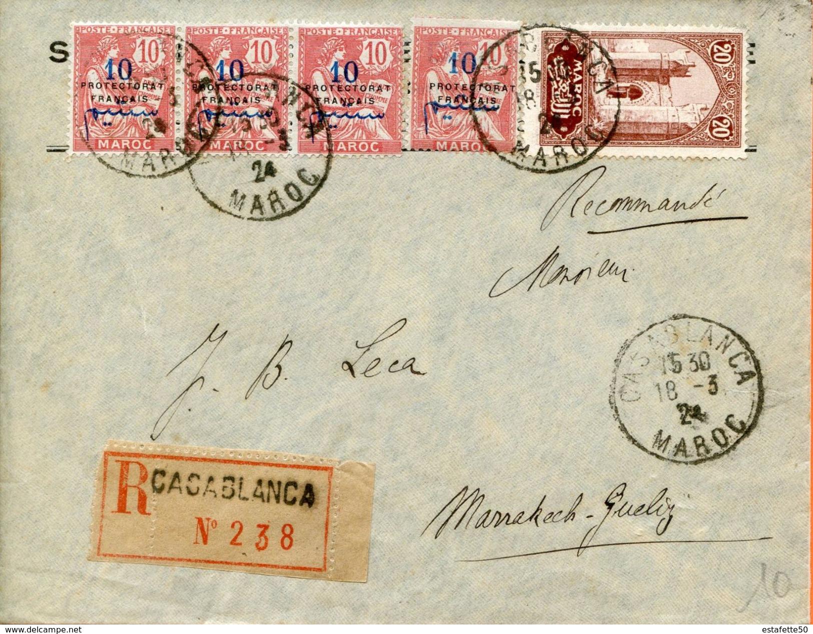 "Maroc,Morocco,Marruecos; 1924  "" Belle Enveloppe "" - Marokko (1891-1956)"