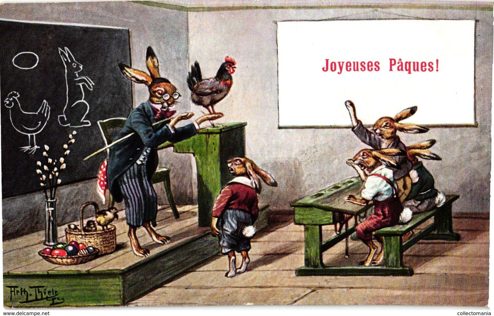 2 CPA  Illustrator Arthur Thiele    Dressed  Animals  Easter Rabbits Lapins Class PAQUES - Thiele, Arthur