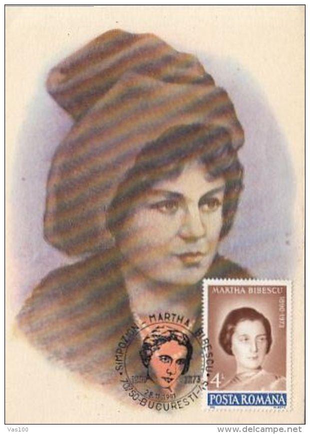 WRITERS, MARTHA BIBESCU, CM, MAXICARD, CARTES MAXIMUM, 1991, ROMANIA - Writers