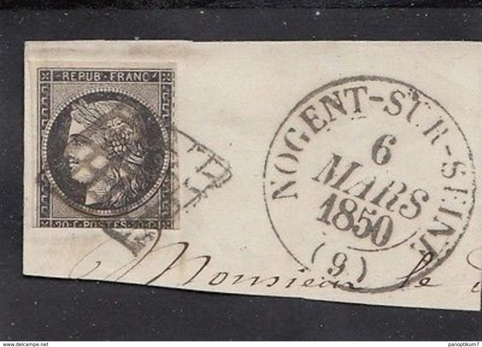 FRANCE 1850,nice LETTERPIECE 20c. Black Cancelled - 1849-1850 Ceres