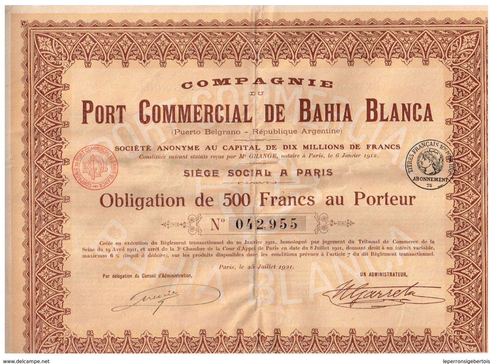 Obligation Ancienne - Compagnie Du Port Commercial De Bahia Blanca - Argentine - Titre De 1921 - Actions & Titres