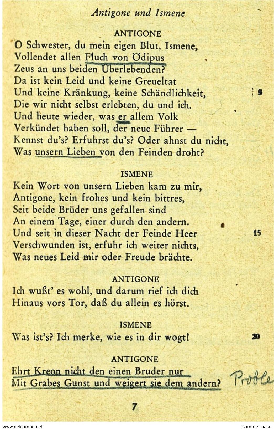 Reclam Heft  -  Antigone Tragödie  -  Von Sophokles  -  1962 - Theatre & Scripts