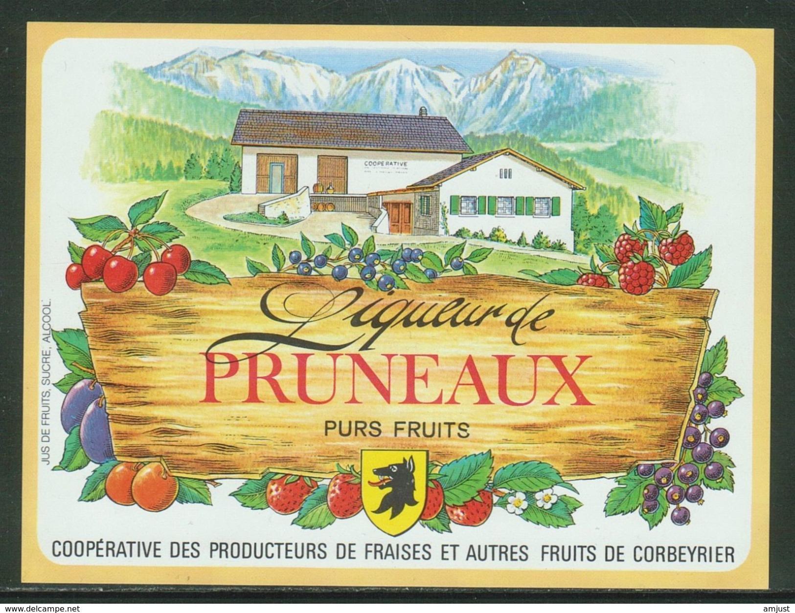 Rare // Etiquette // Liqueur De Pruneaux,Coopérative Des Producteurs, Corbeyrier,Vaud, Suisse - Fruits & Vegetables