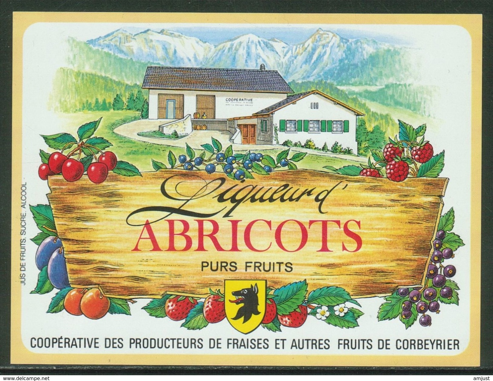 Rare // Etiquette // Liqueur D'Abricots,Coopérative Des Producteurs, Corbeyrier,Vaud, Suisse - Fruit En Groenten