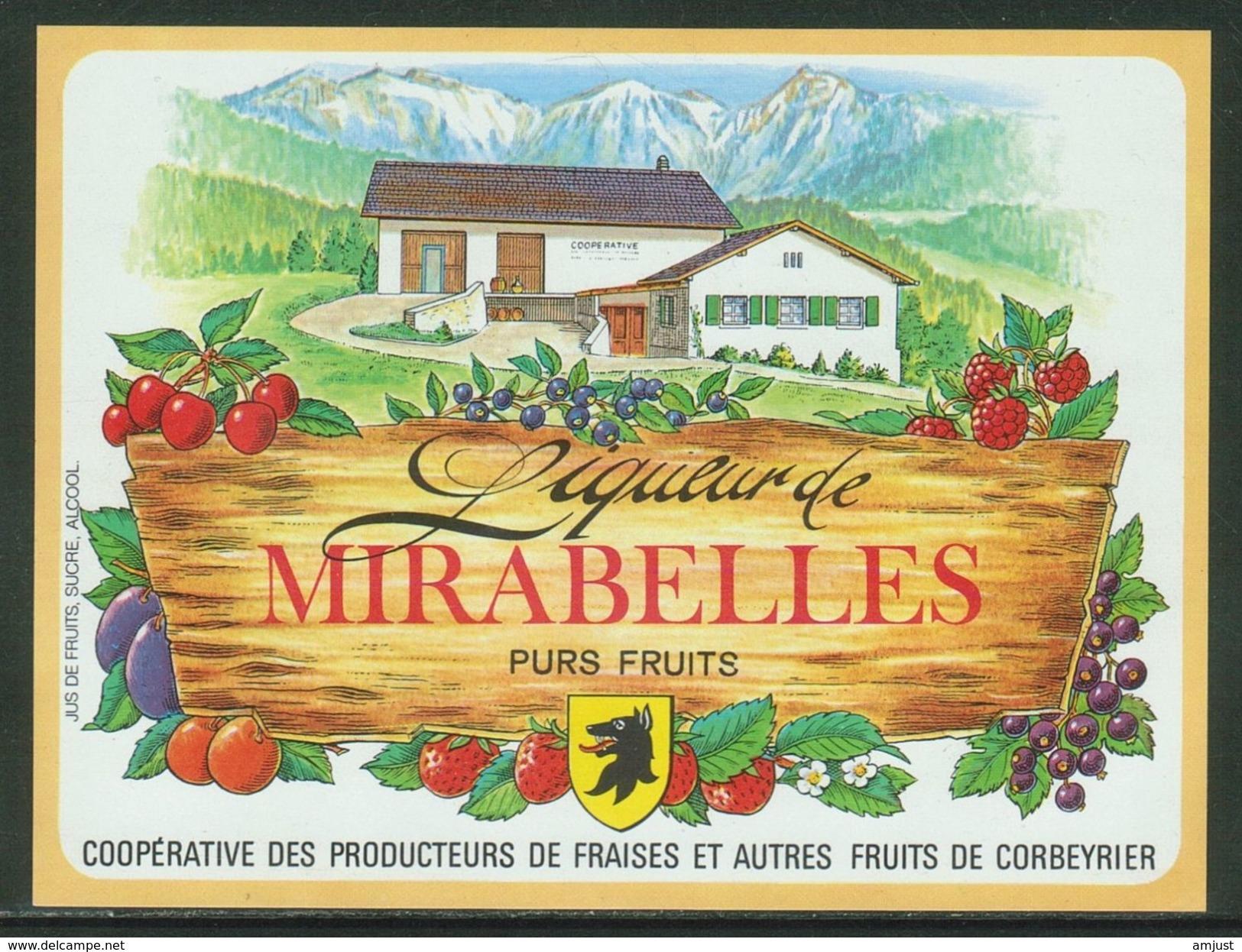 Rare // Etiquette // Liqueur De Mirabelles,Coopérative Des Producteurs, Corbeyrier,Vaud, Suisse - Fruit En Groenten