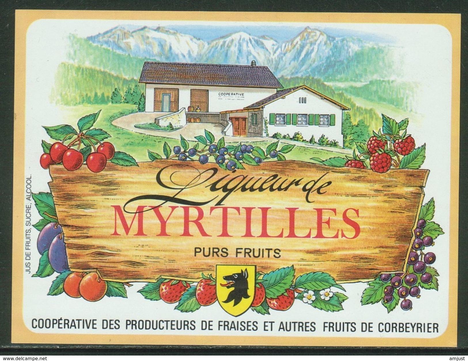 Rare // Etiquette // Liqueur De Myrtilles,Coopérative Des Producteurs, Corbeyrier,Vaud, Suisse - Fruits & Vegetables