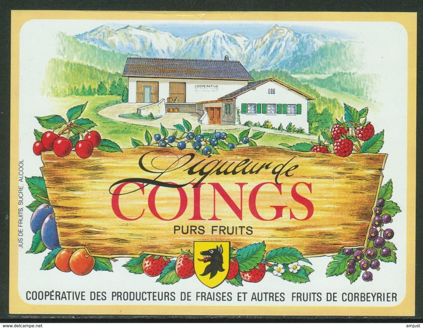 Rare // Etiquette // Liqueur De Coings,Coopérative Des Producteurs, Corbeyrier,Vaud, Suisse - Fruit En Groenten