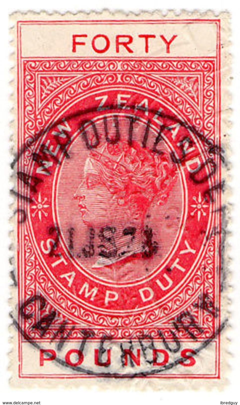 (I.B) New Zealand Revenue : Stamp Duty £40 (11mm Appropriation) - New Zealand