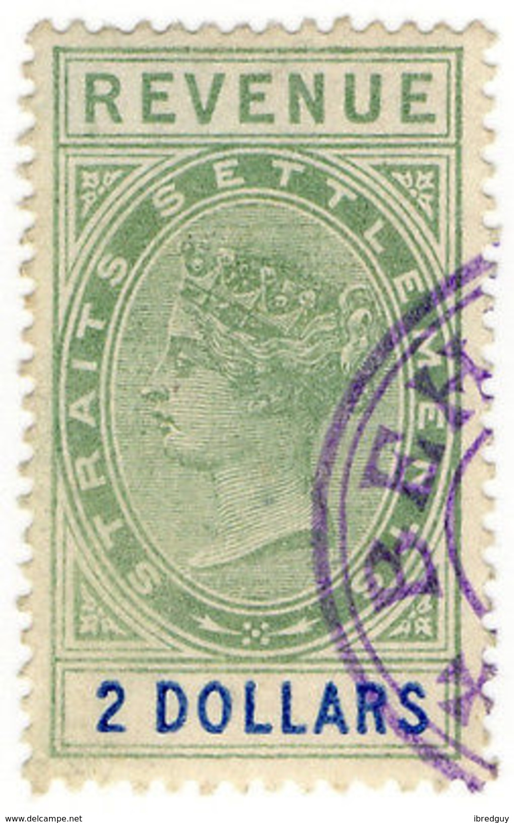 (I.B) Malaya (Straits Settlements) Revenue : Duty Stamp $2 - Great Britain (former Colonies & Protectorates)